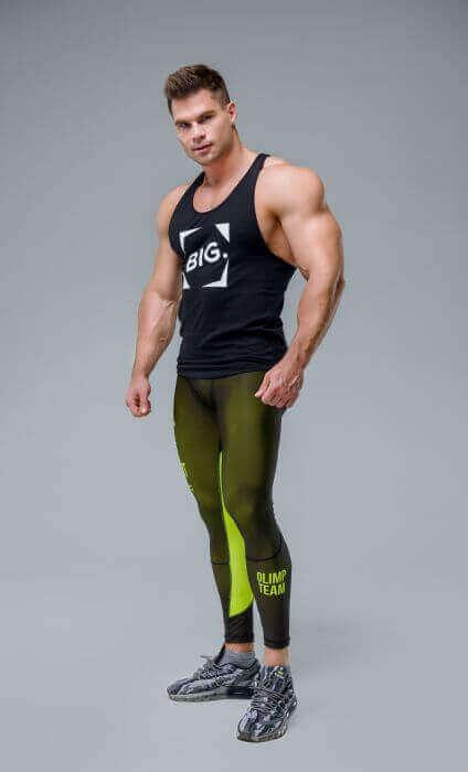 Men's leggings - WORKOUT CLASSIC BLACK&NEON
