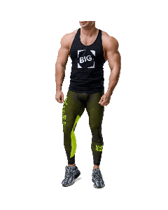 Men's leggings - WORKOUT CLASSIC BLACK&NEON