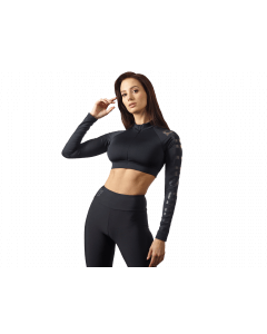 Damski Top treningowy z długim rękawem QUEENS GANG - LONG SLEEVE CROP TOP GUILTY BLACK - Olimp Laboratories