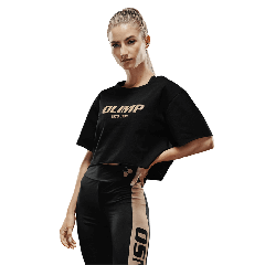 Damski top treningowy Olimp - WMS CROP TOP GOLD SERIES BLACK - Olimp Laboratories