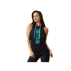 Damska koszulka treningowa bez rękawów QUEENS GANG – WOMENS HOODIE STRINGER BLACK - Olimp Laboratories