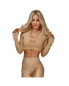 WOMEN'S LONG SLEEVE CROP TOP WARM SAND - Olimp Laboratories