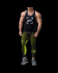Men's leggings - WORKOUT CLASSIC BLACK&NEON - Olimp Laboratories