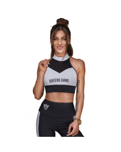 WOMEN'S SPORTS BRA MESH-STRIPES BLACK&WHITE - Olimp Laboratories