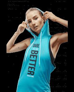 Damska koszulka treningowa z kapturem - Women's Hoodie Stringer Bluemint - Olimp Laboratories
