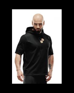 Bluza męska z krótkim rękawem Olimp - MEN HOODIE T-SHIRT BLACK - Olimp Laboratories