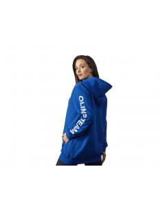 Damska bluza z kapturem OLIMP TEAM - WOMEN'S HOODIE OVERSIZE BLUE - Olimp Laboratories