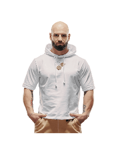 Bluza męska z krótkim rękawem Olimp - MEN HOODIE T-SHIRT WHITE - Olimp Laboratories