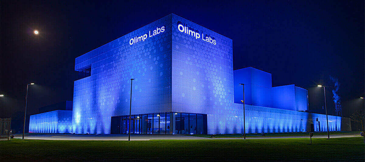 Olimp Laboratories at night
