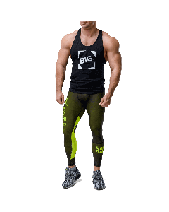 Men's leggings - WORKOUT CLASSIC BLACK&NEON - Olimp Laboratories