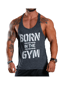 KOSZULKA MĘSKA BEZ RĘKAWÓW TANK TOP BORN IN THE GYM - MEN'S TANK TOP GRAPHITE - Olimp Laboratories