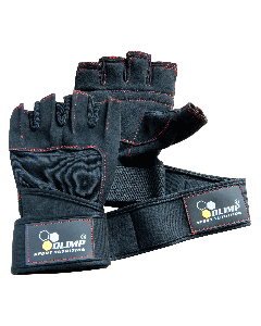 TRAINING GLOVES HARDCORE RAPTOR black with red stitches - Olimp Laboratories