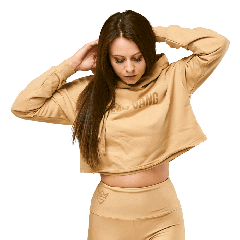 QUEENS GANG – WOMEN'S HOODIE CROPPED WARM SAND - Olimp Laboratories