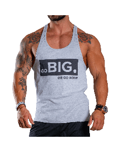 KOSZULKA MĘSKA BEZ RĘKAWÓW TANK TOP BORN IN THE GYM - MEN'S TANK TOP GO BIG OR GO HOME LIGHT MELANGE - Olimp Laboratories