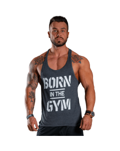 Men's Tank Top BORN IN THE GYM GRAPHITE - Olimp Laboratories