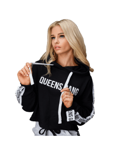 WOMEN`S HOODIE CROPPED GUILTY BLACK - Olimp Laboratories