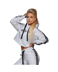 KRÓTKA BLUZA DAMSKA QUEENS GANG - WOMEN`S HOODIE CROPPED INNOCENT WHITE - Olimp Laboratories
