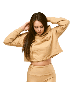 KRÓTKA BLUZA DAMSKA Z KAPTUREM QUEENS GANG - WOMEN'S HOODIE CROPPED WARM SAND - Olimp Laboratories