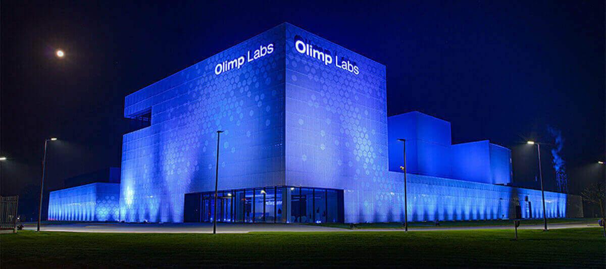 Olimp Laboratories at night